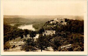 "CAMDENTON, Missouri RPPC Real Photo Postcard HA HA TONKA ""Lake & Castle"" c1920s"