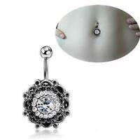 Crystal Flower Belly Bar Body Piercing Jewellery Boho Bohemian Jewellery A263