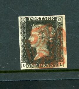 Great Britain 1840 Penny Black  Plate 3,   4-Margins   fine used      (O574)