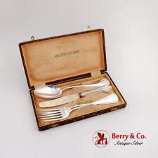 Vintage Boxed Flatware Set 2 Spoons 2 Forks 1 Knife 800 Silver