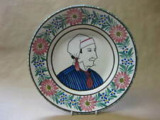 Vintage HB Quimper Bowl ~ Hand-Painted Flowers, Normandy Man ~ France ~ Faience
