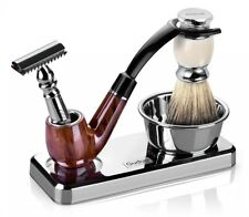Barber De Blade Safety Razor Badger Shaving Brush and Bowl 3pc Gift Set for Men