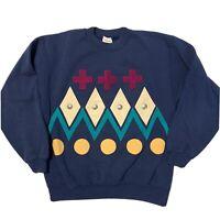 Vintage Geometric Crewneck Sweatshirt Women's Large Blue Hanes Trendy Boho 90s