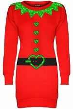 Ladies Christmas Snowman Fleece Snowflake Women Xmas Knitwear Tunic Jumper Dress
