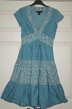 New Sz 2 (8) Marc Jacobs Floral Printed Aqua Dress Cap Sleeve Cotton Panel Skirt