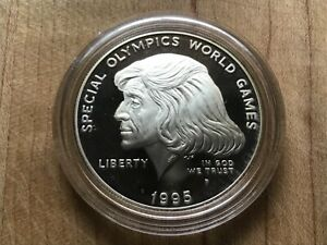 1995 Special Olympics World Games Proof Silver Dollar original in mint capsule