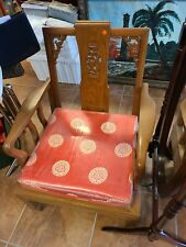 Vintage Carved Wood Asian Chinese Cushioned Armchairs Teak