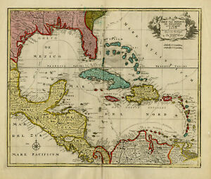Antique Map-CENTRAL AMERICA-CARRIBEAN-MEXICO-VENEZUELA-Elwe-1792
