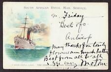 SCARCE UNION CASTLE LINE POSTCARD RMS DUNVEGAN CASTLE VIGNETTE SOUTH AFRICA 1904