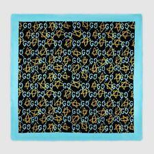 Gucci Ghost Black Blue Yellow GG Star Modal Silk Large Scarf Shawl 448172 1069