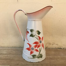 Vintage French Enamel pitcher jug water enameled white with flowers 2601182