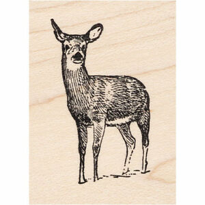 Doe in Snow Beeswax Rubber Stamp Mounted Deer Animals Wildlife Scenic Stamping