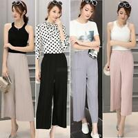 Fashion Women Casual Long Loose Pants Pleated Chiffon Wide-leg Trousers Culottes