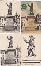 Lot 4 cartes postales ancienne DUNKERQUE statue jean bart 3