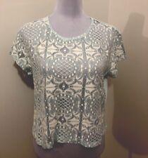 Ladies LOLA SKYE (DP) Mint/White Knit Crop Top. Size 14. NWT