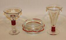 3 Pieces 1969 Joel Philip Myers Blenko Ruby Glass Teardrop Martini Stem & Bowl