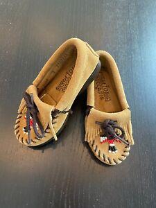 MINNETONKA Moccasin Beaded Shoe Slipper Toddler Size 7 Suede Leather Boy Girl