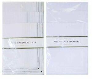 Pack of 5 Large Mens Cotton Hankies Handkerchiefs Hanky White Plain or Border