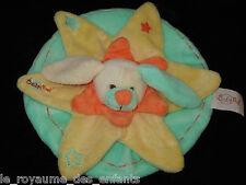 Doudou plat rond vert jaune orange Lapin blanc étoile Babynat' Baby Nat'