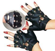 Womens Black Punk Gothic Rock Metal Rivet Fingerless Leather Gloves