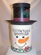 Snowman Cookie Jar with Double Storage & Tray Hat - NEW