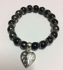 Black silver two tone acrylic beads spacers hollow heart charm stretch bracelet