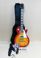 Haze SEG-277THS Les Paul Custom Guitar Tiger Cherry + Gig Bag + Strings