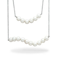 Sterling Silver 6-7 mm White Shell Pearl Multi-Strand Necklace - Sku #101713