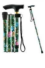 Fancy Sparkly STRONG Aluminium Folding Walking Stick Floral Ladies Women Woman