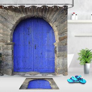Islamic Stone Arch Blue door Waterproof Fabric Bathroom Shower Curtain Set 180CM