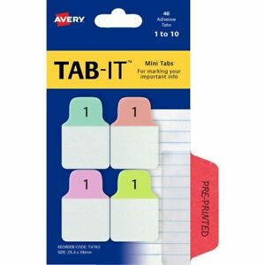 Avery Mini TAB-IT Numeric Tabs 40 Pack Pastel - 1 TO 10 - 74762 PAGE MARKERS