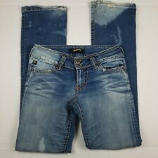 Serfontaine Bootcut Jeans Womens Size 27 Blue Bleached Distressed Made in USA