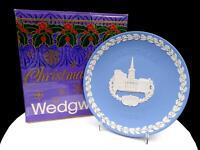 "WEDGWOOD JASPERWARE BLUE CHRISTMAS 8"" ALL SOULS LONDON PLATE ORIGINAL BOX 1983"