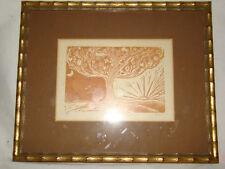 Original Woodblock Art Print SPRING Tree of Life Day Night Signed DCG A/P Framed