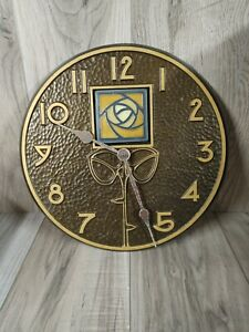 """DARD HUNTER ROSE FRENCH BRONZE COLORED 12"""" CLOCK by WHITEHALL PRODUCTS WORKING"""