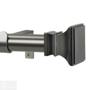 Art Decor Window Curtain Rod Set Single 120 in. Gun Metal Versailles Finials