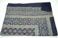 Ajrak Bohemian Daybed Cover Kantha Quilt Hand Block Printed Patchwork Bedspread