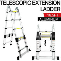 8.5/15.5/16.5Ft Aluminum Telescopic Extension Ladder Extendable Fold Multi-Use