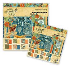Graphic 45 World's Fair ~ 12 X12 & 8 X 8 Paper Pads AND Tags & Pockets Set
