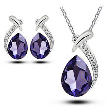 Women Chic Crystal Pendant Chain Necklace Stud Silver Plated Earring Jewelry Set Purple