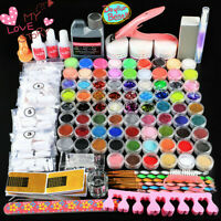 Pro 72 Acrylic Powder Glitter Nail Art Kit Set  Professional Nail Lamp Tool  DIY