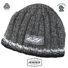 Pachamama Hand Made 100% Wool Surf Rib Grey Hand Knitted Warm Winter Beanie Hat