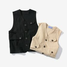 Retro Men Vest Waistcoat Japanese Style Single-Breasted Pocket Sleeveless Jacket