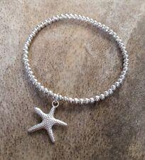 Starfish Charm Bracelet Silver Ball Beaded Stacker Surfer Stretch