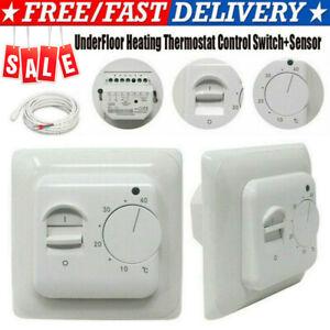 Electric UnderFloor Heating Thermostat Control Switch+ Floor Sensor White 16A UK