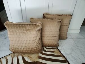 3 Hotel Collection taupe satin quilted EURO Pillow shams, inserts not included
