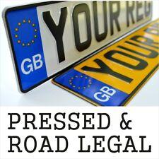 2x Pressed Number Plates Pair Metal Car Embossed Road Aluminium GB Legal Reg