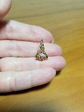 Custom Made 14 kt yellow & rose gold Diamond Flower Pendant, 2.7 grams