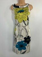 WOMENS COAST WHITE FLORAL SLEEVELESS SUMMER OCCASION A LINE DRESS SIZE UK 12