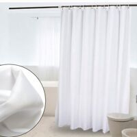 White Shower Curtain Machine Washable Rust Proof For Bathroom 180x180cm